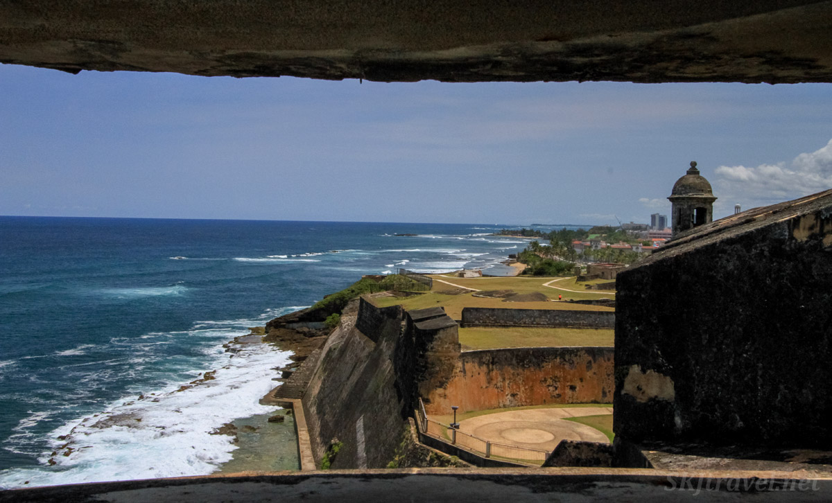 View down the coast from bunker inside Castillo San Cristobal, Old San Juan, Puerto Rico.