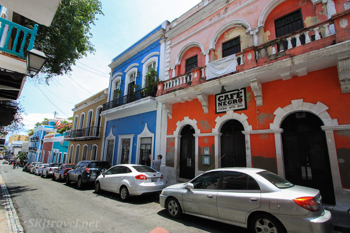 Colorful buildings along the streets of Old San Juan, Puerto Rico.