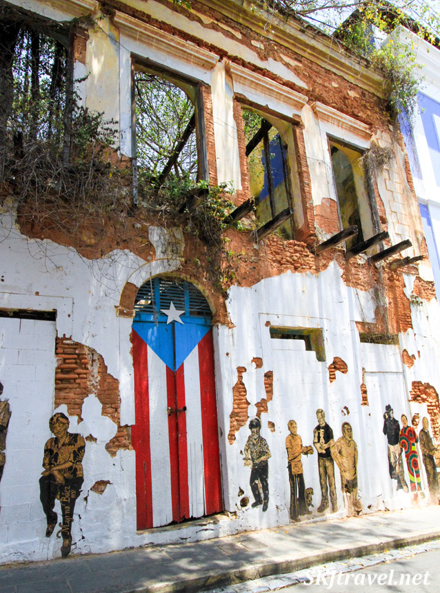 Street art on an abandoned building in Old San Juan, Puerto Rico.