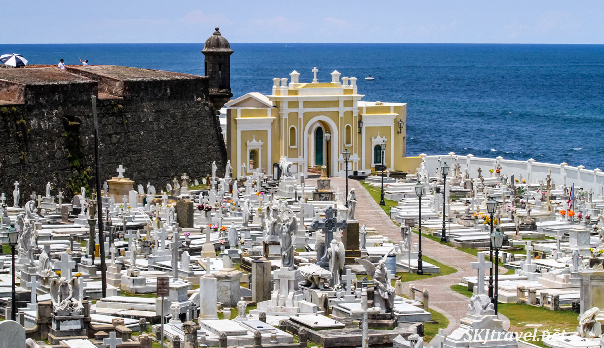 Santa Maria Magdalena de Pazzis Cemetery, directly below the fortress wall of Castillo San Felipe del Morro and right on the ocean shore. Old San Juan, Puerto Rico.