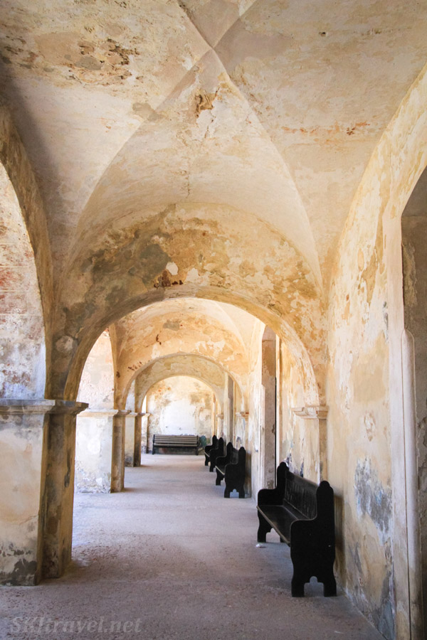 Covered walkway inside the fortress Castillo San Cristobal, Old San Juan, Puerto Rico.