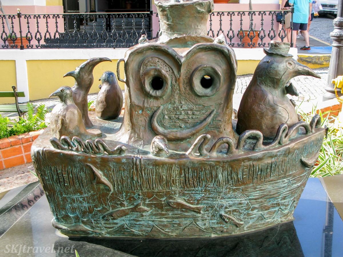 Whimsical bronze sculpture, Old San Juan, Puerto Rico.