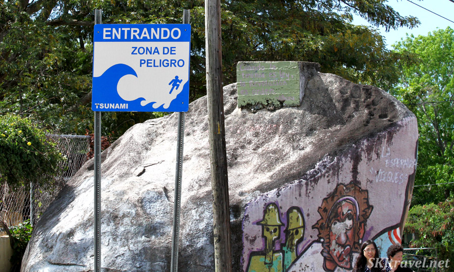 Tsunami warning sign on Vieques Island, Puerto Rico.