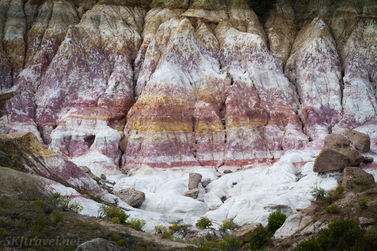 White, pink and yellow cliffs at Painted Mines Interpretive Park, Calhan, Colorado.