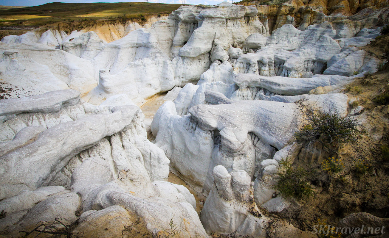 Canyons and spires of white sandstone, Painted Mines Interpretive Park, Calhan, Colorado.