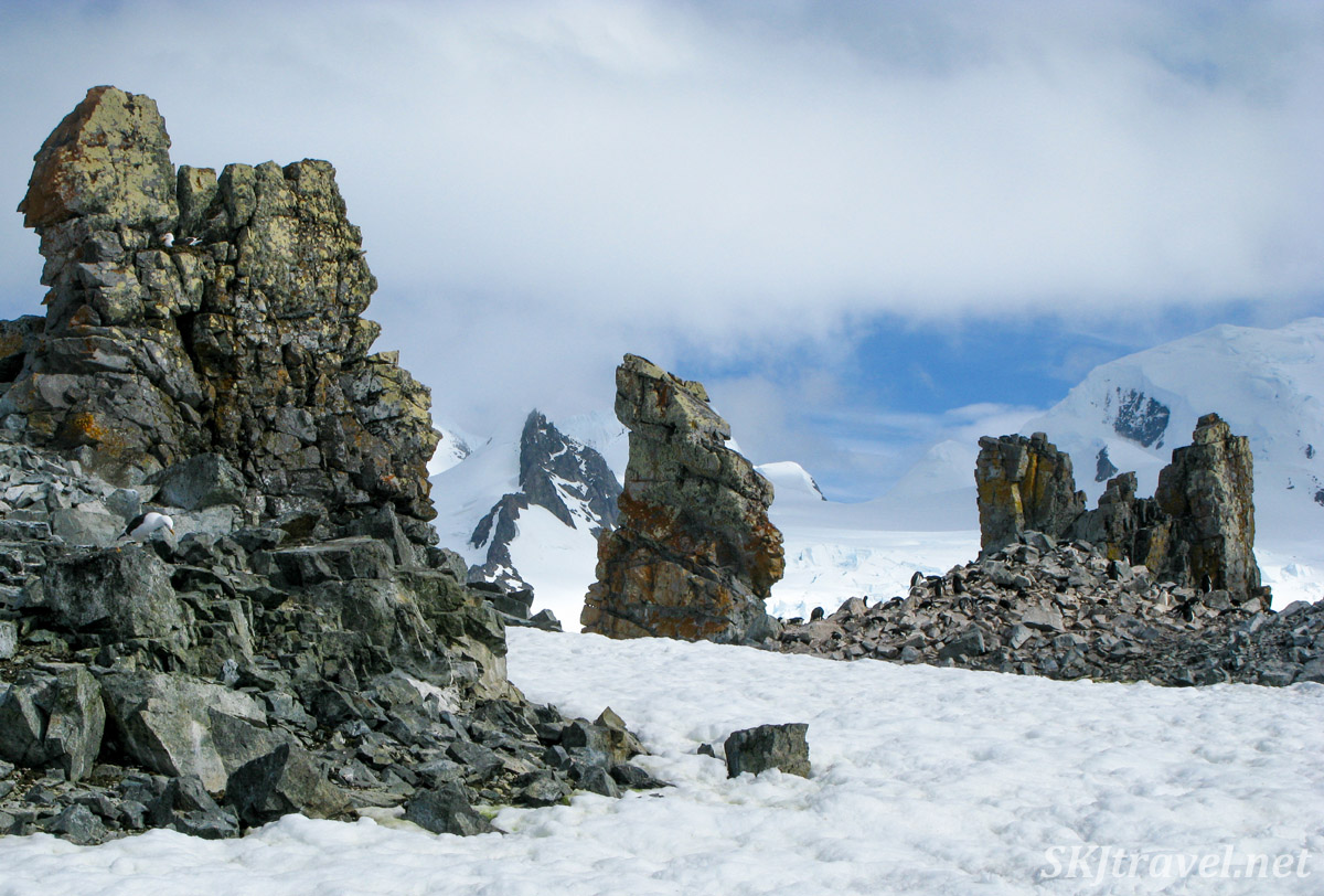 Rock formations at Halfmoon Island in the South Shetland Islands.