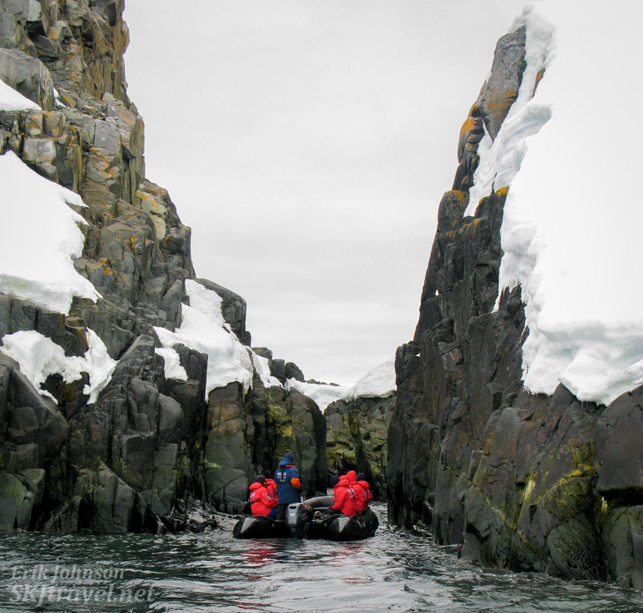 Heading into a narrow channel in the rocks at Spert Island, Antarctica.