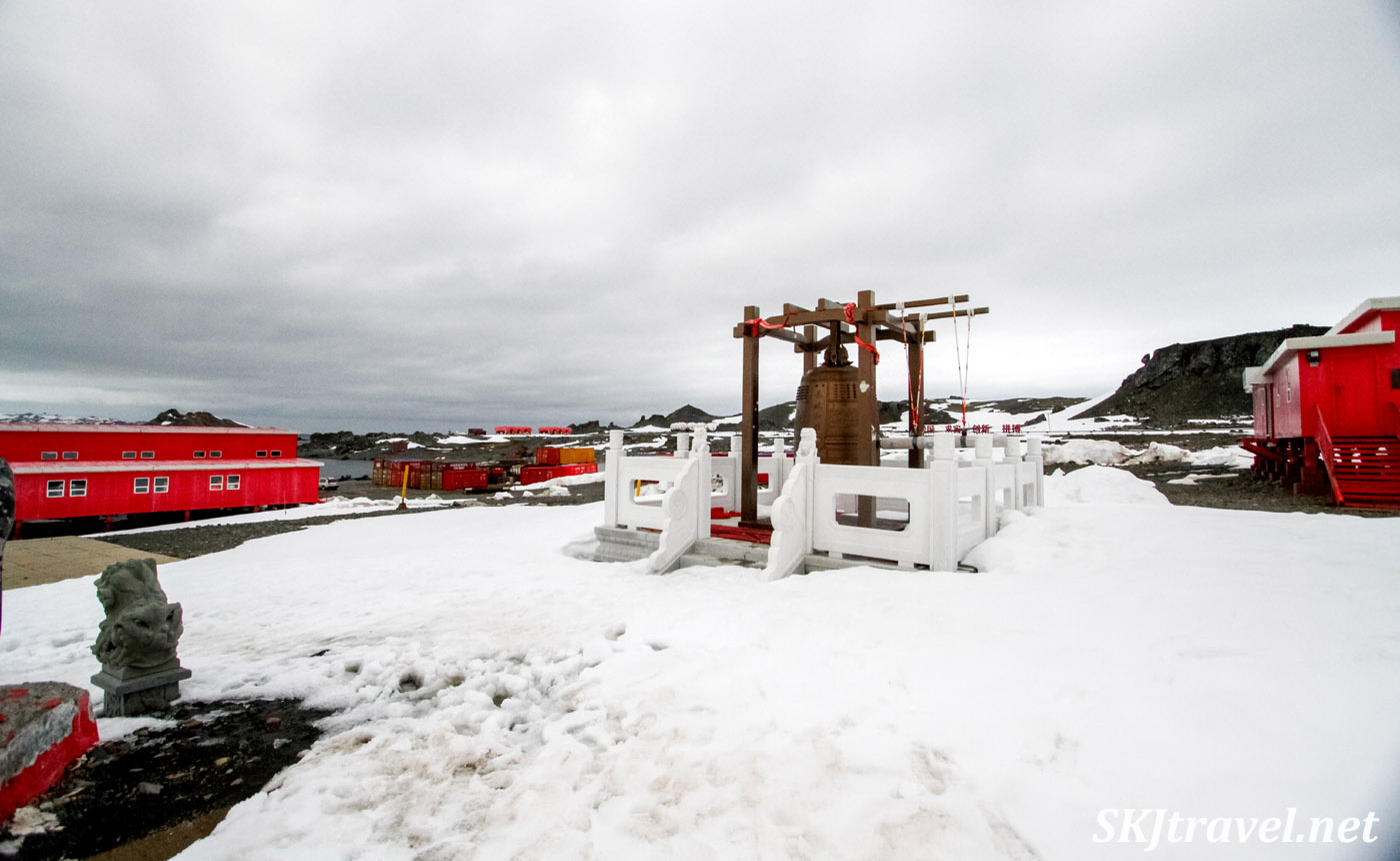 Traditional Chinese bell outside China Great Wall Station, South Shetland Islands.