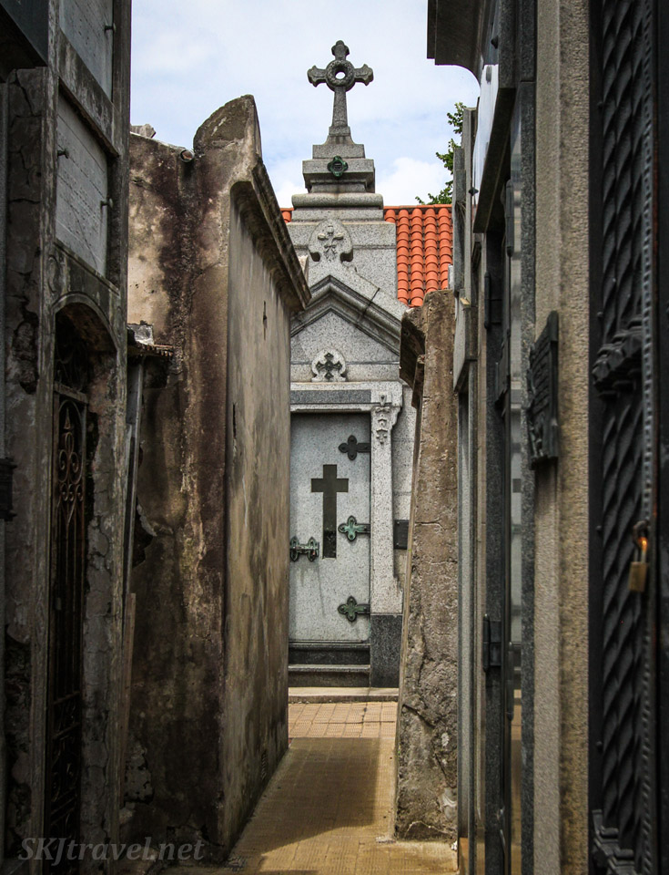 Simple mausoleum with crosses in Recoleta Cemetery, Buenos Aires, Argentina.