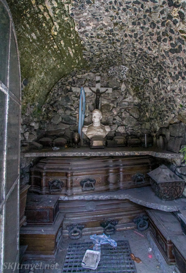 Inside of a stone mausoleum in Recoleta Cemetery, Buenos Aires, Argentina.