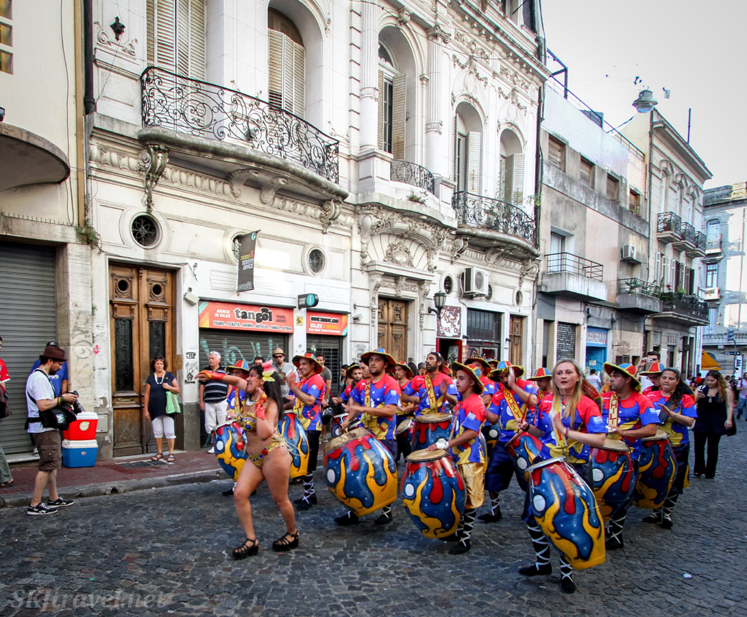 Different sized tamboriles in the San Telmo Candombe parade, Buenos Aires, Argentina.