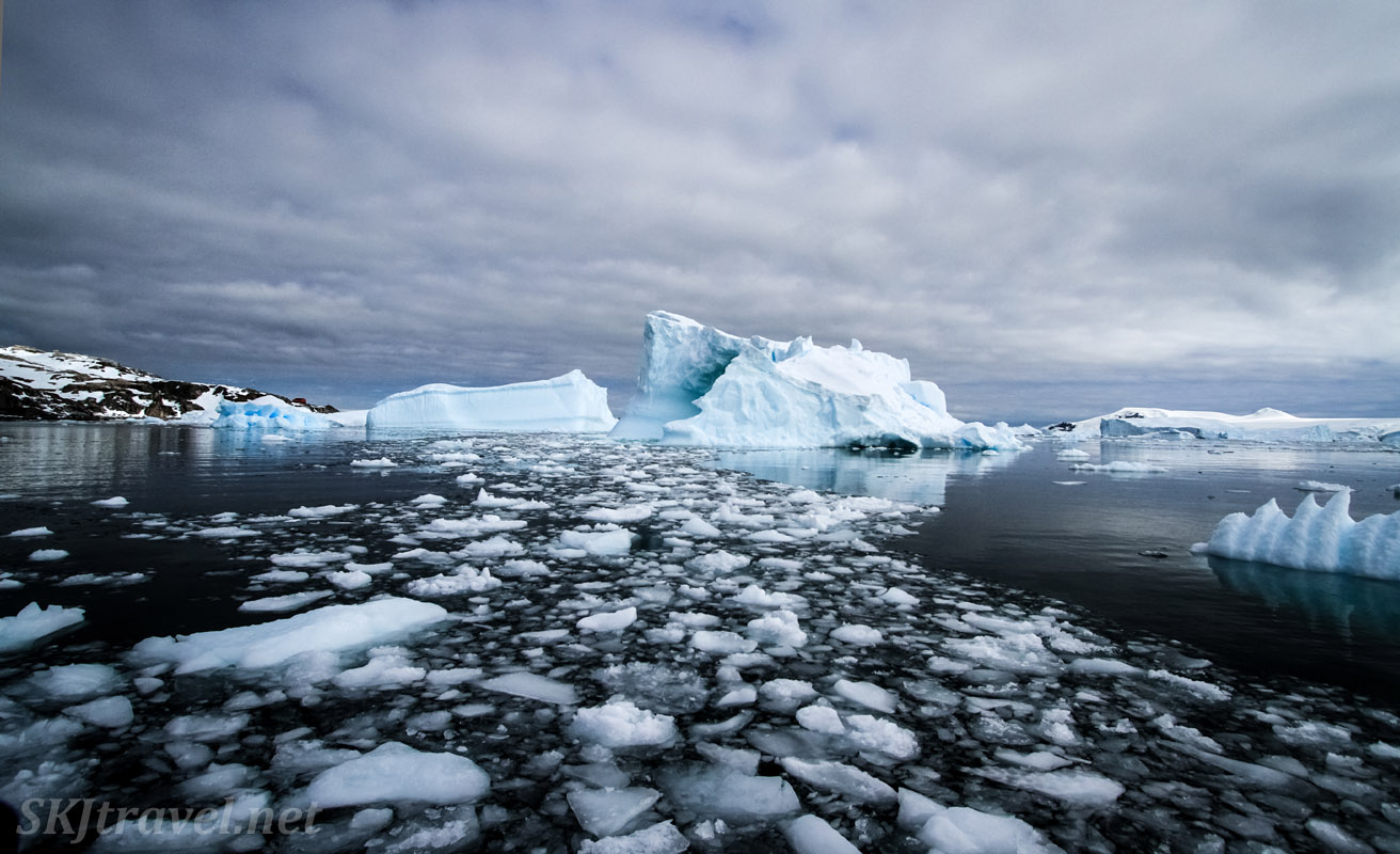 Icebergs and ice slush in black waters of the Southern Ocean, Cierva Cove, Antarctica.