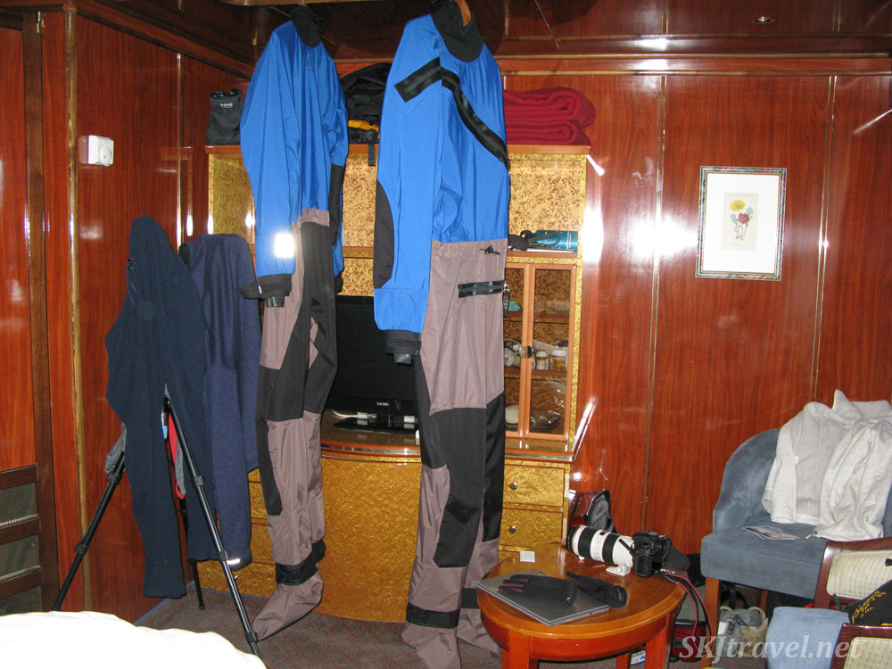 Our dry suits drying in our cabin after a kayaking expedition. Antarctica!