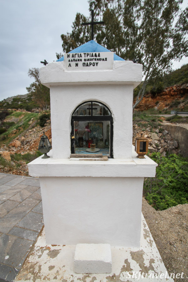 Roadside memorial shrine in the mountains of Chios Island, Greece.