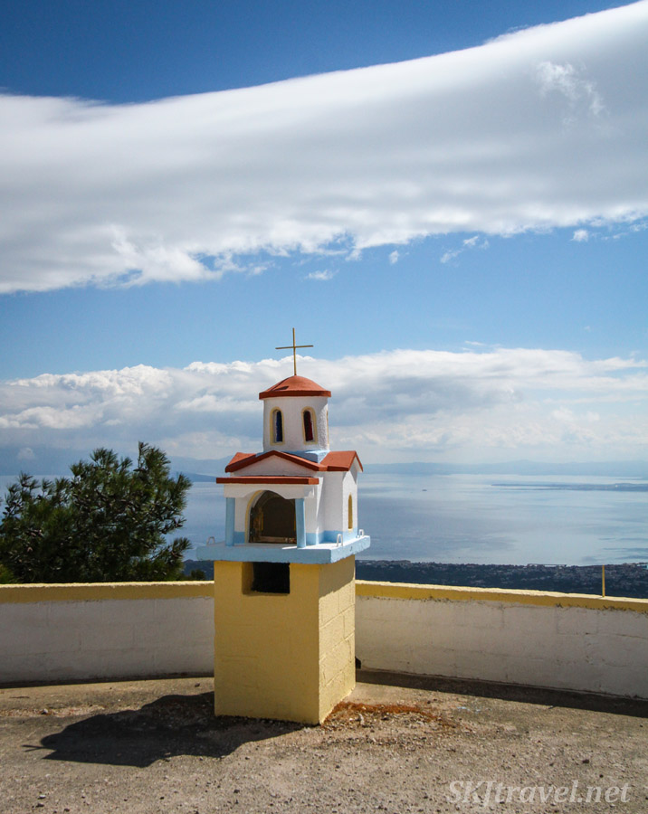 Roadside memorial shrine overlooking the Aegean sea, Chios Island, Greece.