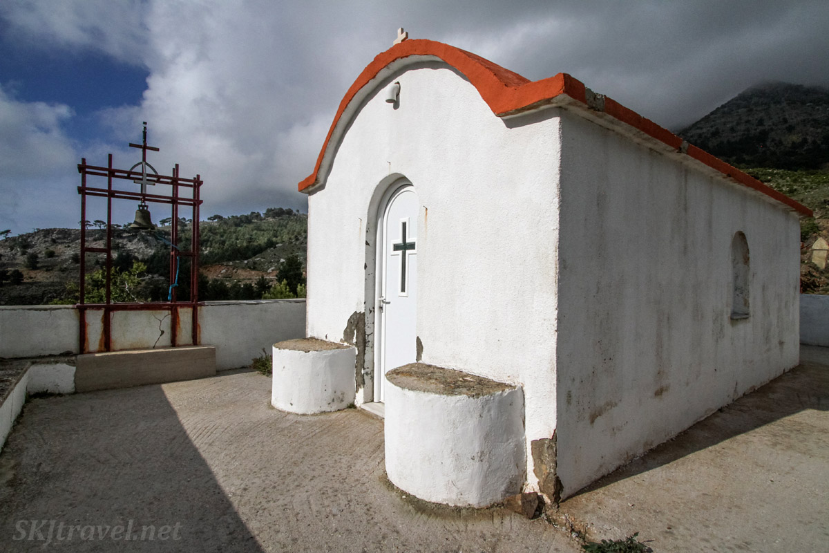 Tiny orthodox church near the road on Chios Island, Greece.