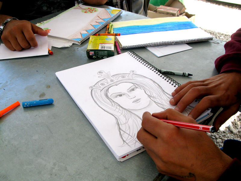 Drawing by a refugee at Souda Camp, Chios Island, Greece.