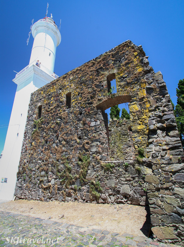 Lighthouse and remains of the old fort in the historic town center of Colonia del Sacramento, Uruguay.