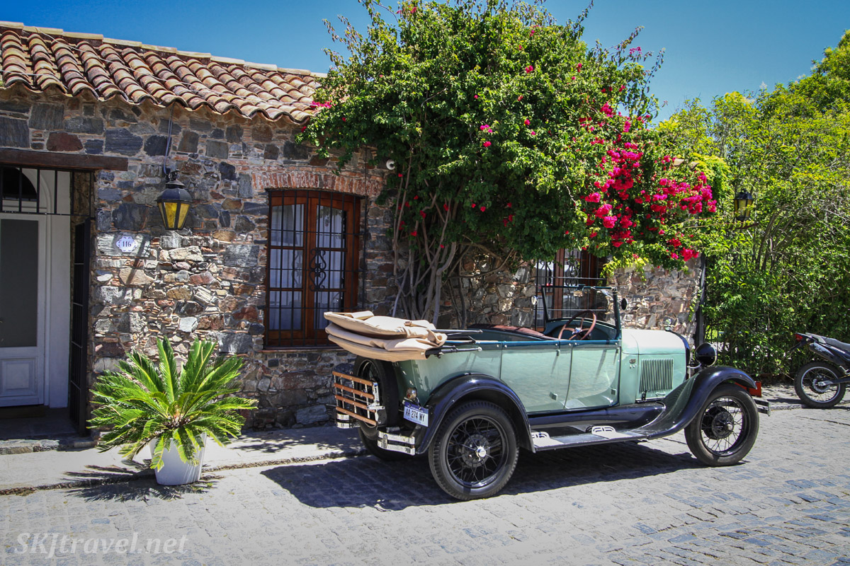 Antique car on display on a cobblestone street in Colonia del Sacramento, Uruguay.