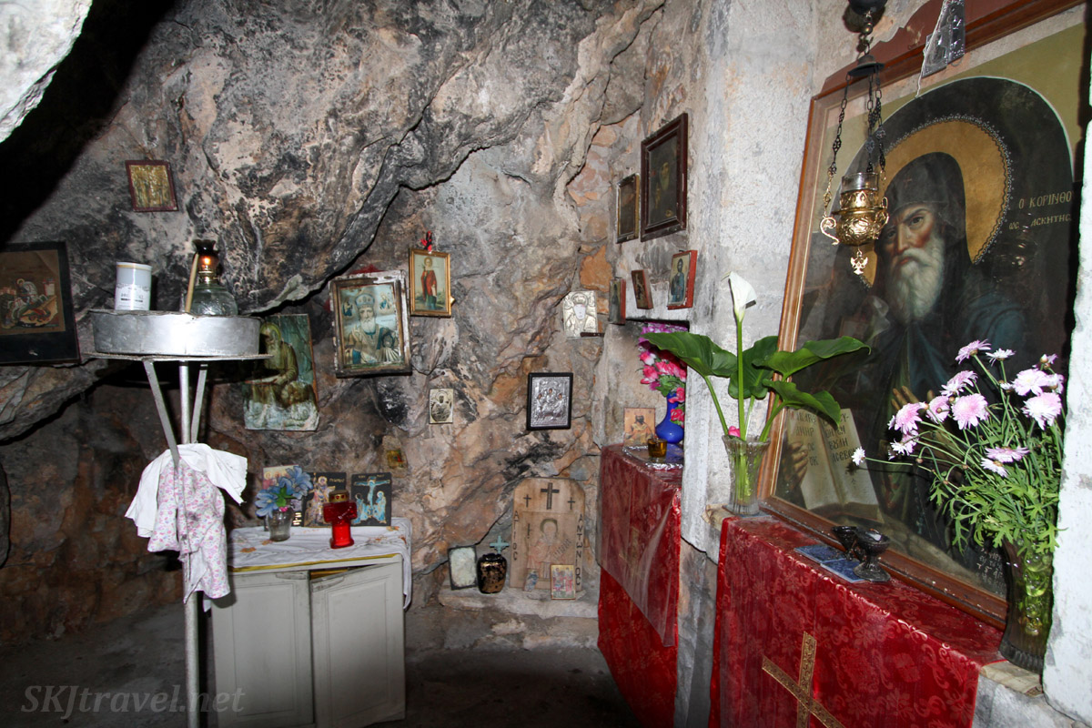 Grotto shrine to Saint Nicholas, Vrontados, Chios Island, Greece.