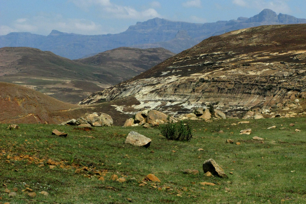 Landscape approaching the Monontsha Border crossing from South Africa into Lesotho.