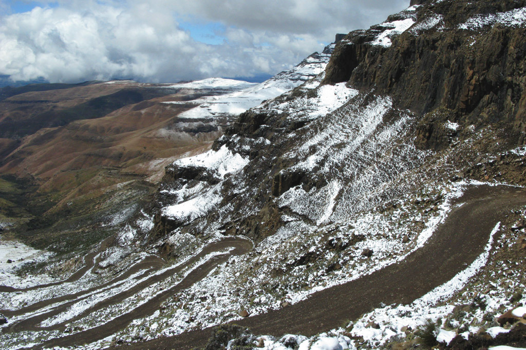 The twisty road of Sani Pass, downhill from Lesotho to South Africa.