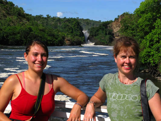 Approaching Murchison Falls by boat. Uganda. Me and Steph.