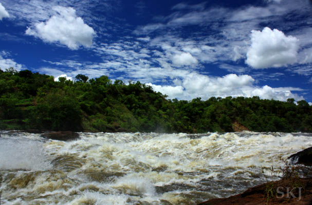 The Nile River just before it tumbles down Murchison Falls. Uganda.