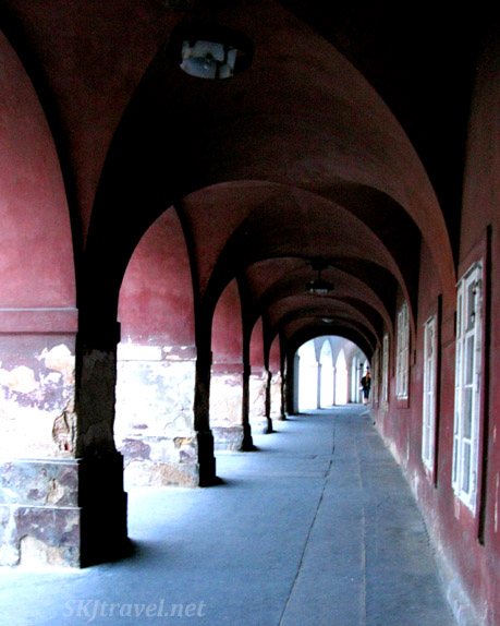 Red covered walkway near Pohorolec in Prague.