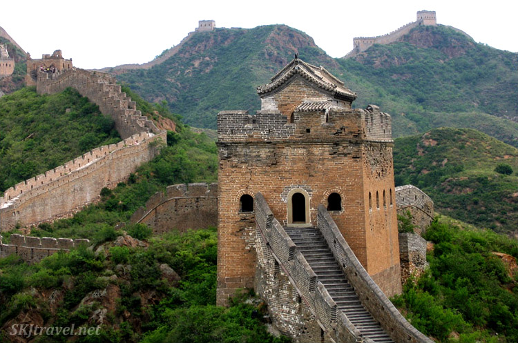 The truly Great Wall of China with its innumerable towers spaced along the ridgelines. China.