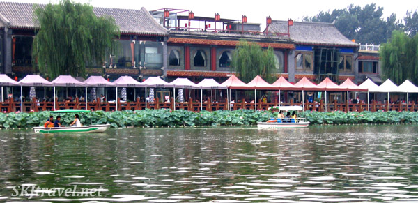 Back Lakes in Beijing, lined with water liles and cafe tables. China.