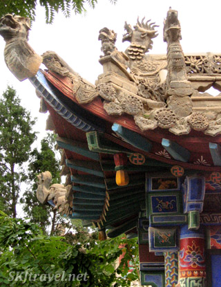 Detail of roof tiles at Gao Miao temple, Zhongwei, China.