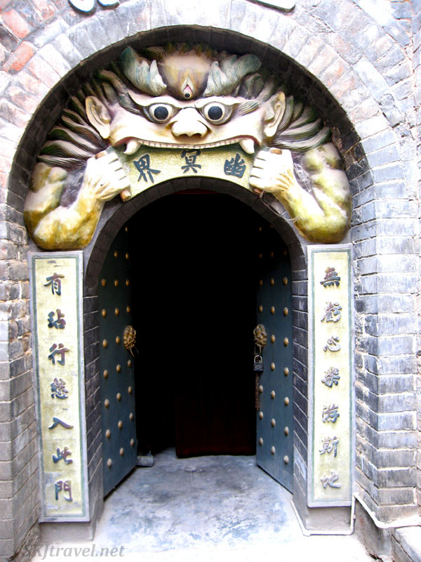 Doorway into the insanely creepy tour of Hell underneath the Gao Miao temple in Zhongwei, China.