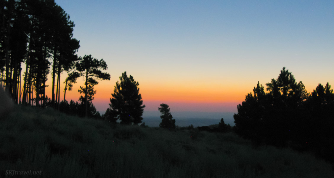 Horizon during total solar eclipse in Esterbrook national forest, Wyoming. August 2017.