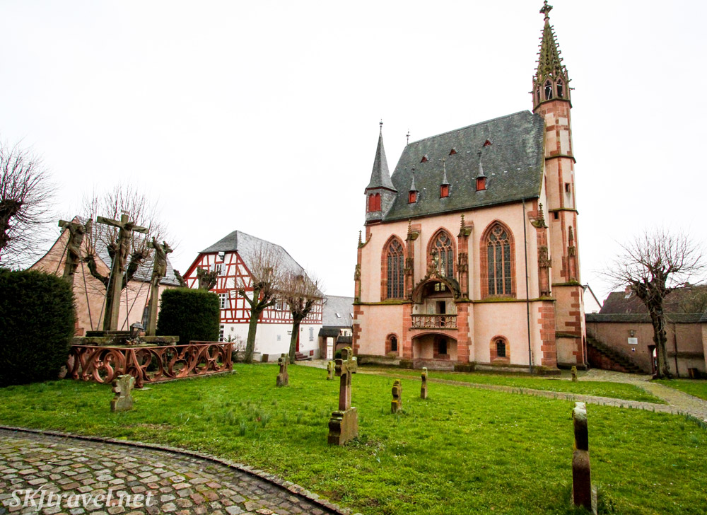 Outside Frankfurt, Germany, small abbey and graveyard.
