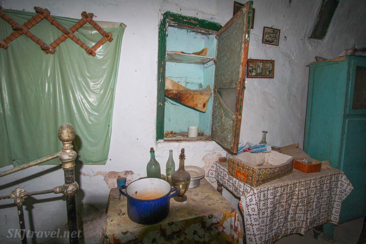Kitchen in an abandoned home in the old medieval village of Mesta on Chios Island, Greece.
