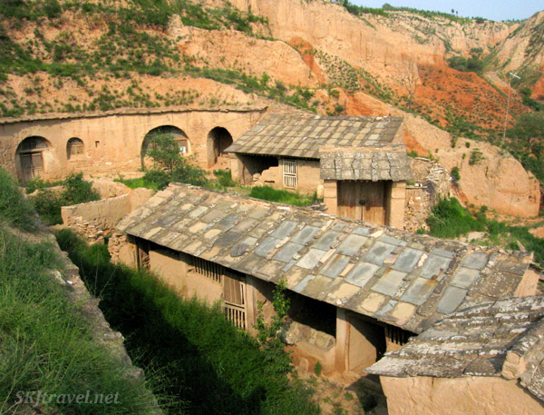 Looking down into courtyard of traditional yao complex. Shaanxi Province, China.