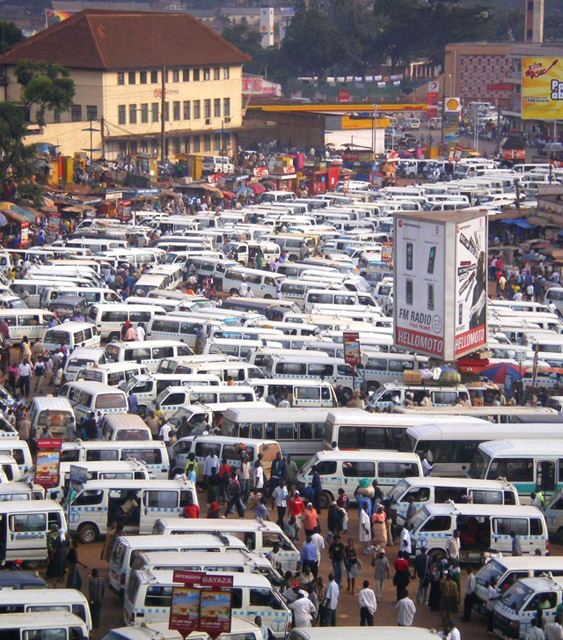 hundreds of minivans in a bus park