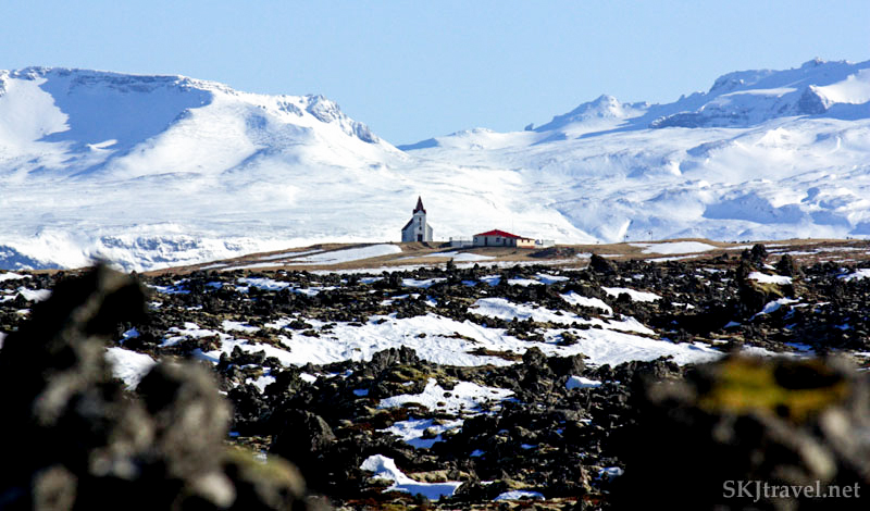 Tiny church amid a lava field on the Snaefellsnes Peninsula, Iceland.