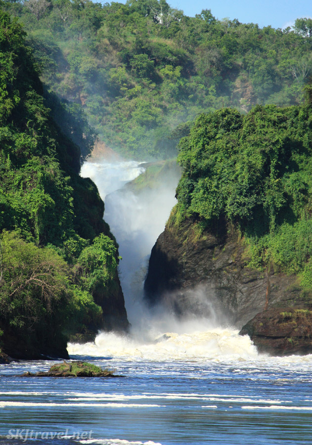 Murchison Falls on the Nile River, Uganda. From below the falls on a boat.