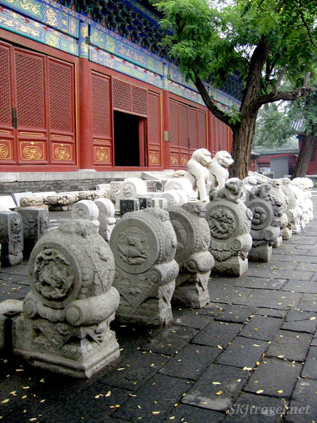 Pieces of stonework lined up in the courtyard of the Museum of Chinese Architecture. Beijing.