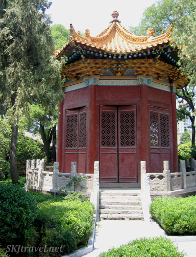 Old, faded pagoda on the grounds of the Shaanxi Province Museum, Xian, China.