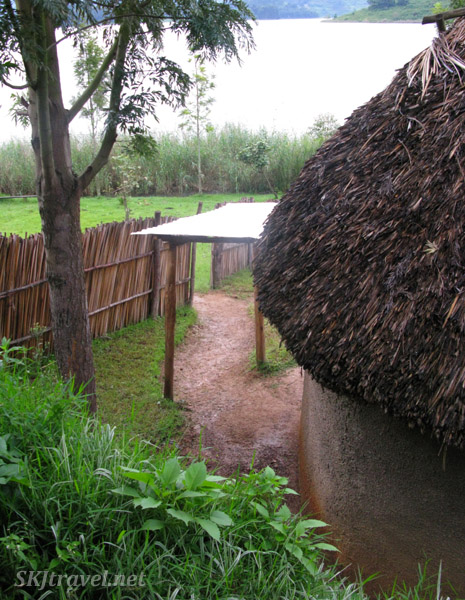 Looking down the path from my mud hut at Lake Bunyoni, Uganda.