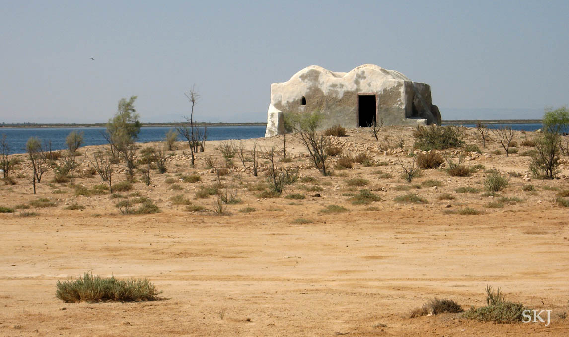 Small building in the middle of nowhere on the coast of Djerba Island, Djerba.