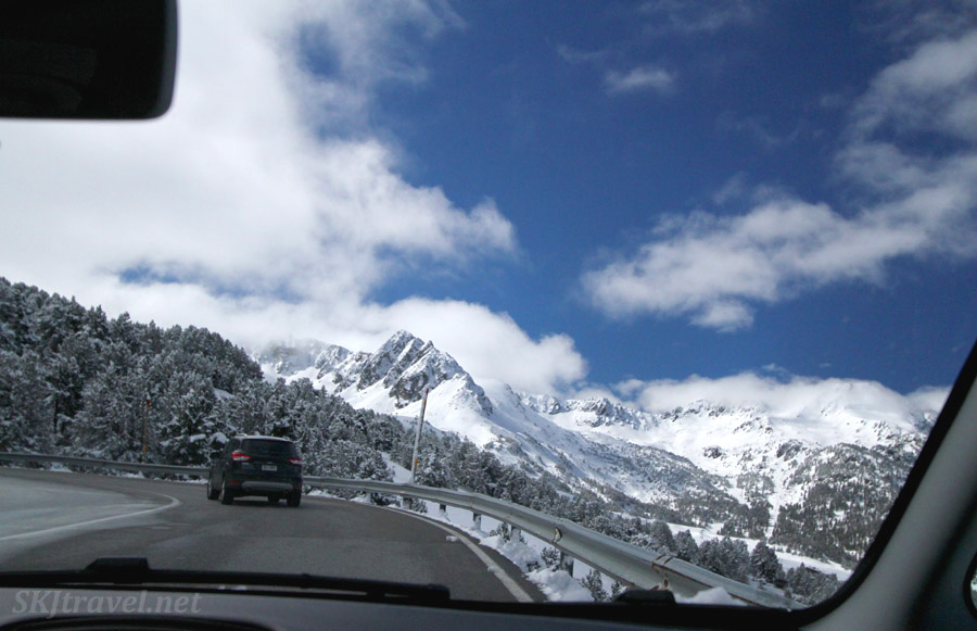 Driving the main road through Andorra. Snow-capped peaks in April.