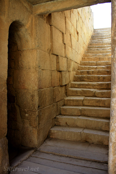 Stairs descend into the sacred temple. Bishapour, Iran.