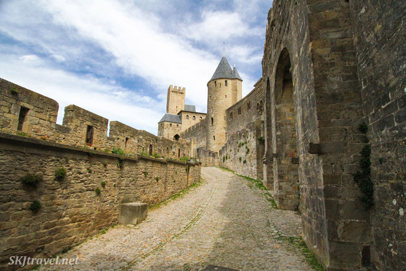 Along the outer walls of the medieval walled city of Carcassonne, France.