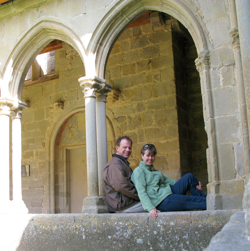 Carefully set up self-timer shot in the cloister of the abbey St. Hilaire, France.