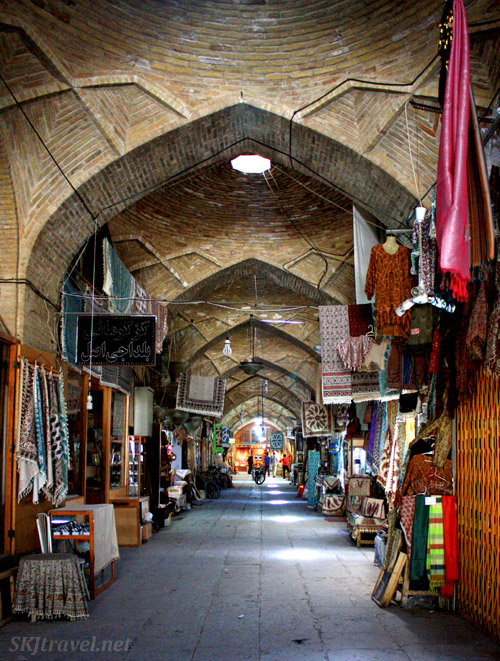 Inside the bazaar in Isfahan, Iran, during afternoon siesta when corridors are empty.