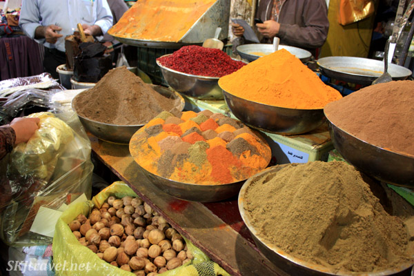 Spices in the bazaar in Isfahan, Iran. I like the bowl of different colored mounds, like a spice landscape.